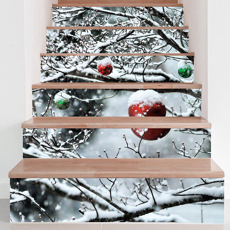 DIY Snows Branch Printed Decorative Stair StickersHOME<br><br>Size: 100*18CM*6PCS; Color: GRAY; Wall Sticker Type: Plane Wall Stickers; Functions: Stair Stickers; Theme: Christmas; Pattern Type: Snowman; Material: PVC; Feature: Removable; Weight: 0.3100kg; Package Contents: 1 x Stair Stickers (Set);