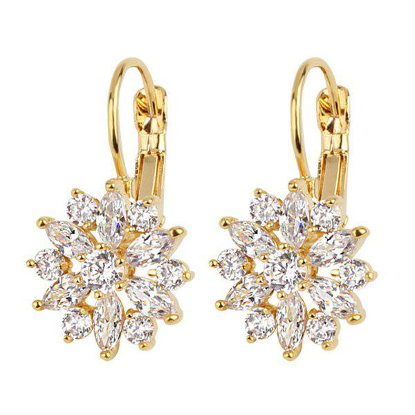 Crystal Embellished Floral Shape Hook EarringsJEWELRY<br><br>Color: GOLDEN; Earring Type: Hoop Earrings; Gender: For Girls,For Women; Material: Crystal; Metal Type: Alloy; Style: Noble and Elegant; Shape/Pattern: Floral; Weight: 0.0140kg; Package Contents: 1 x Earring (Pair);