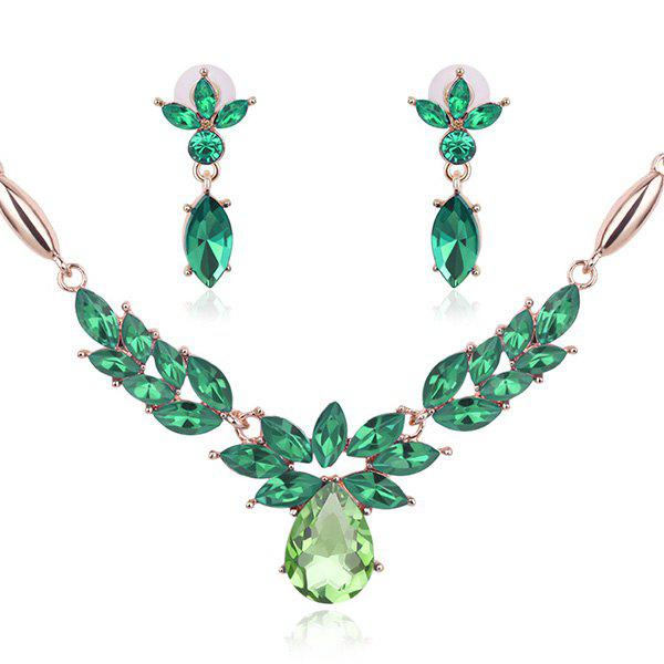 Vintage Flower Shaped Decorated Faux Gem Necklace EarringsJEWELRY<br><br>Color: GREEN; Item Type: Pendant Necklace; Gender: For Women; Style: Noble and Elegant; Shape/Pattern: Floral,Leaf; Weight: 0.0470kg; Package Contents: 1 x Necklace 1 x Earrings (Pair);