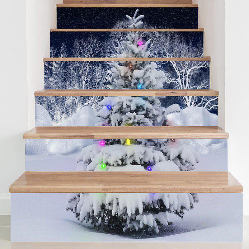 DIY Snows Christmas Tree Printed Decorative Stair StickersHOME<br><br>Size: 100*18CM*6PCS; Color: GREY WHITE; Wall Sticker Type: Plane Wall Stickers; Functions: Stair Stickers; Theme: Christmas; Pattern Type: Christmas Tree; Material: PVC; Feature: Removable; Weight: 0.3100kg; Package Contents: 1 x Stair Stickers (Set);