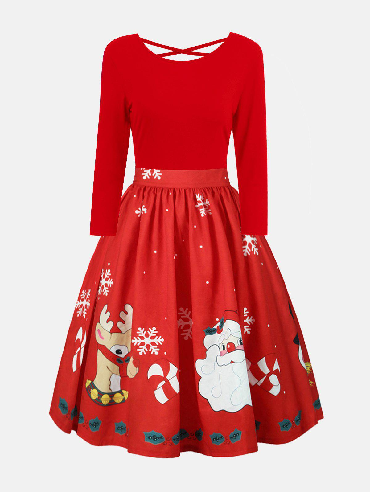 Plus Size Christmas Criss Cross Print DressWOMEN<br><br>Size: 2XL; Color: BRIGHT RED; Style: Vintage; Material: Polyester; Silhouette: A-Line; Dresses Length: Mid-Calf; Neckline: Round Collar; Sleeve Length: Long Sleeves; Embellishment: Criss-Cross; Pattern Type: Print; With Belt: No; Season: Fall,Spring; Weight: 0.2700kg; Package Contents: 1 x Dress;