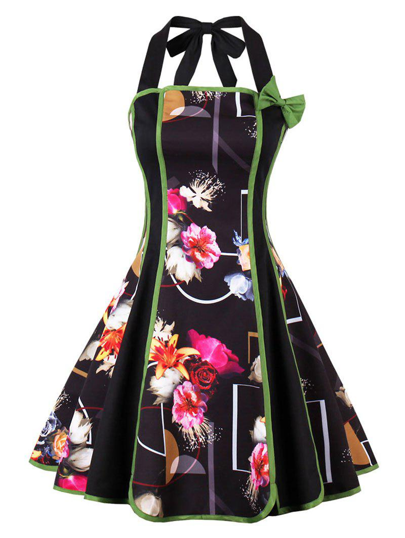 Vintage Halter Backless Floral Pin Up DressWOMEN<br><br>Size: M; Color: BLACK; Style: Vintage; Material: Cotton,Polyester; Silhouette: A-Line; Dress Type: Fit and Flare Dress,Skater Dress; Dresses Length: Knee-Length; Neckline: Halter; Sleeve Length: Sleeveless; Pattern Type: Floral; With Belt: No; Season: Fall,Spring; Weight: 0.3500kg; Package Contents: 1 x Dress;