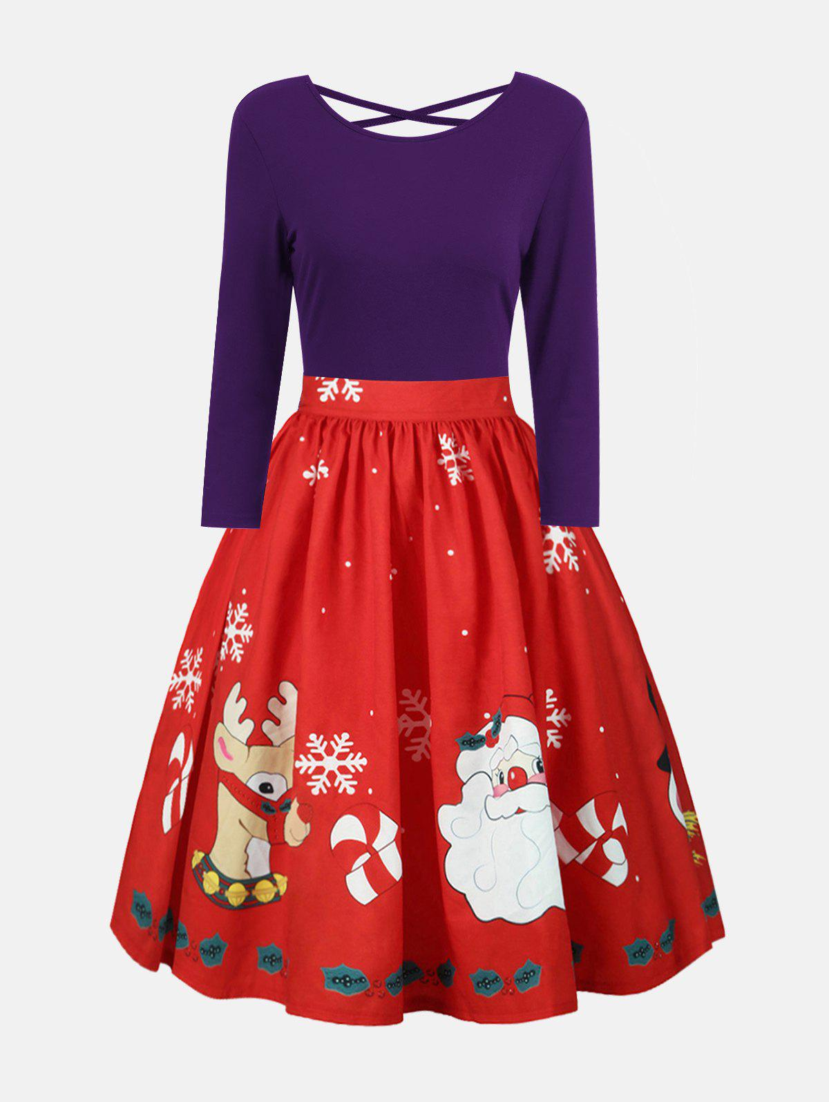 Plus Size Christmas Criss Cross Print DressWOMEN<br><br>Size: XL; Color: CONCORD; Style: Vintage; Material: Polyester; Silhouette: A-Line; Dresses Length: Mid-Calf; Neckline: Round Collar; Sleeve Length: Long Sleeves; Embellishment: Criss-Cross; Pattern Type: Print; With Belt: No; Season: Fall,Spring; Weight: 0.2700kg; Package Contents: 1 x Dress;