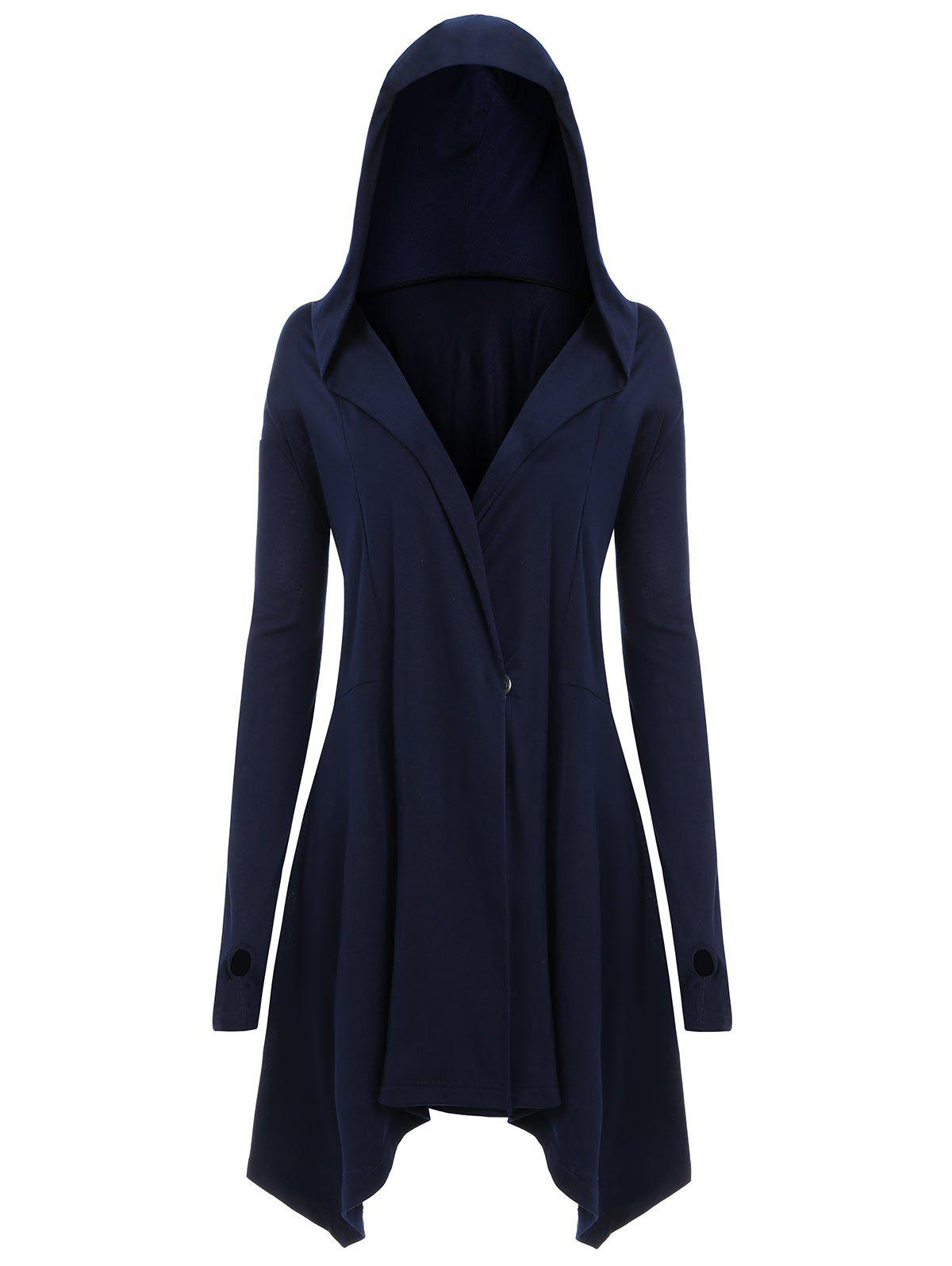 Asymmetric Plus Size Back Lace Up HoodieWOMEN<br><br>Size: 3XL; Color: BLUE; Material: Polyester,Spandex; Shirt Length: Long; Sleeve Length: Full; Style: Fashion; Pattern Style: Solid; Season: Fall,Spring; Weight: 0.5700kg; Package Contents: 1 x Hoodie;