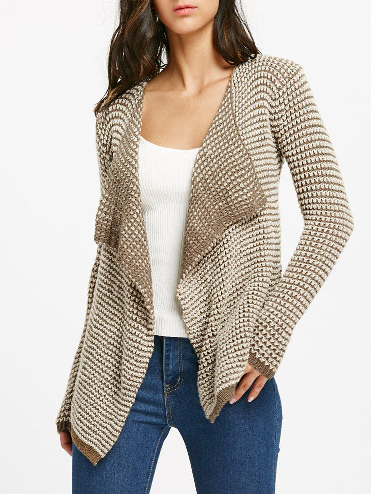 Casual Collarless Long Sleeve Knitted Cardigan For WomenWOMEN<br><br>Size: S; Color: KHAKI; Type: Cardigans; Material: Polyester; Sleeve Length: Full; Collar: Collarless; Style: Fashion; Weight: 0.2850kg; Package Contents: 1 x Cardigan;