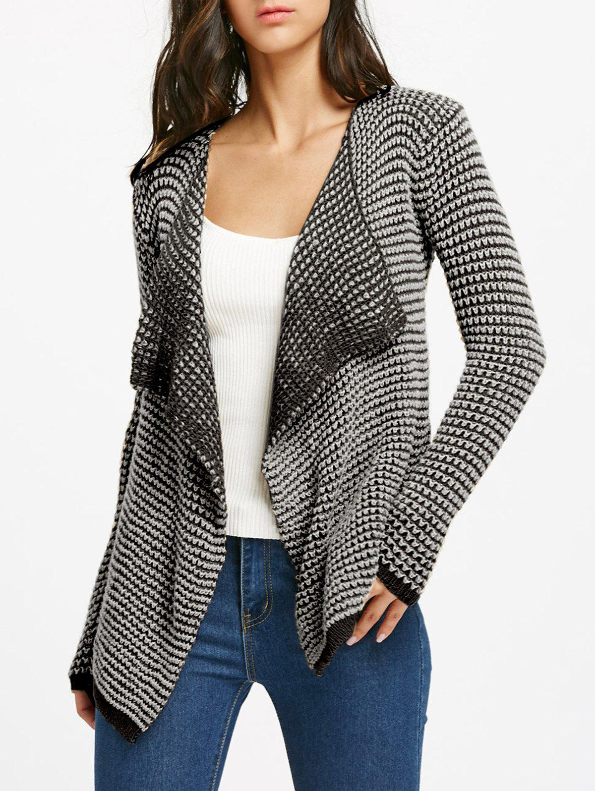 Unique Collarless Long Sleeve Knitted Drape Front Cardigan