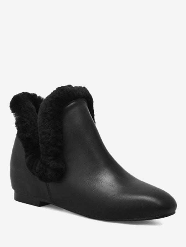 Cheap Square Toe Flat Heel PU Leather Boots