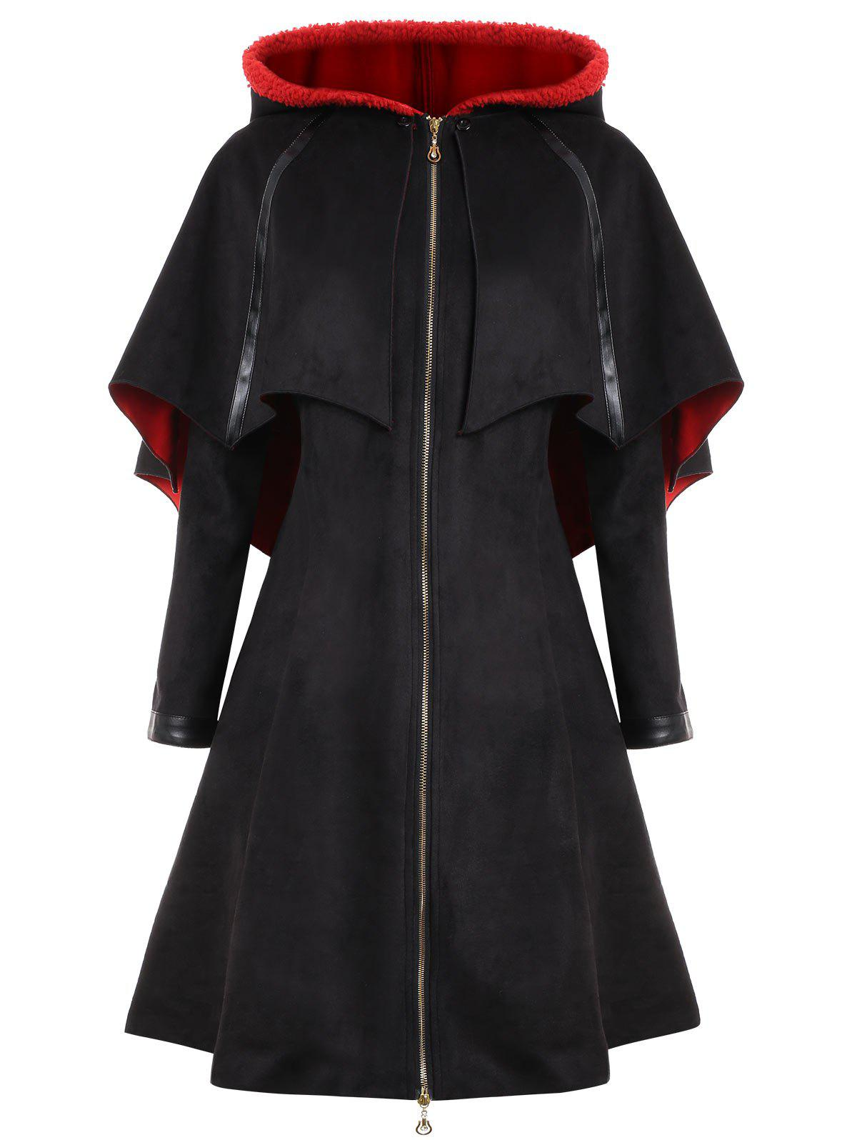 Cheap Long Plus Size Faux Suede Hooded Bat Coat