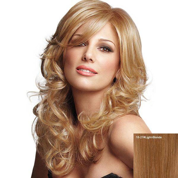 Sale Long Inclined Bang Fluffy Curly Human Hair Wig