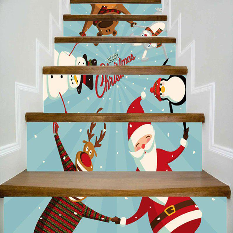 Christmas Snowman Santa Claus Animal Print Decorative Stair StickersHOME<br><br>Size: 100*18CM*6PCS; Color: BLUE; Wall Sticker Type: Plane Wall Stickers; Functions: Stair Stickers; Pattern Type: Animal,Santa Claus,Snowman; Material: PVC; Feature: Removable; Weight: 0.4000kg; Package Contents: 6 x Stair Stickers (Pcs);