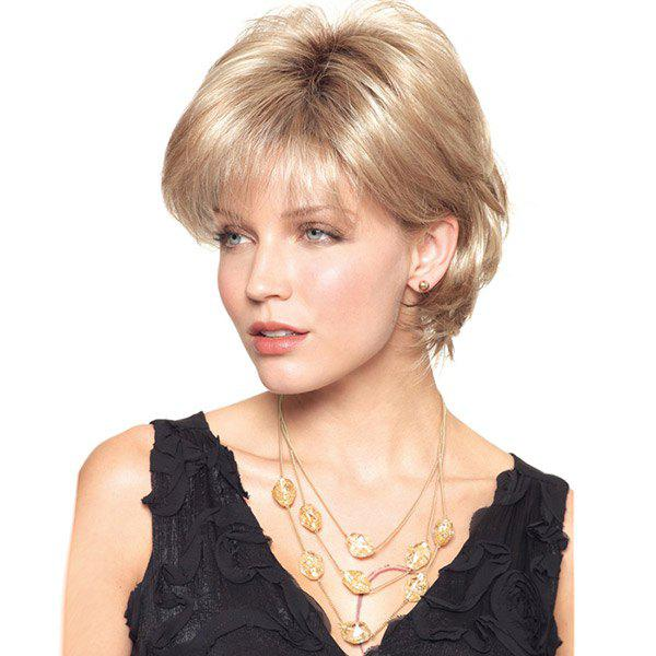 Short Inclined Bang Shaggy Slightly Curly Human Hair WigHAIR<br><br>Color: BLONDE; Type: Full Wigs; Cap Construction: Capless (Machine-Made); Style: Straight; Cap Size: Average; Material: Human Hair; Bang Type: Side; Length: Short; Occasion: Anniversary,Ceremony,Daily,Office &amp; Career,Party; Length Size(CM): 23; Weight: 0.1500kg; Package Contents: 1 x Wig;