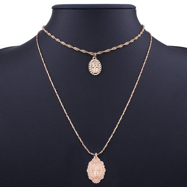 Alloy Oval Engraved Goddess Pendant Necklace SetJEWELRY<br><br>Color: GOLDEN; Item Type: Pendant Necklace; Gender: For Women; Style: Trendy; Shape/Pattern: Geometric; Length: 41CM/61CM; Weight: 0.0400kg; Package Contents: 2 x Necklaces (Piece);