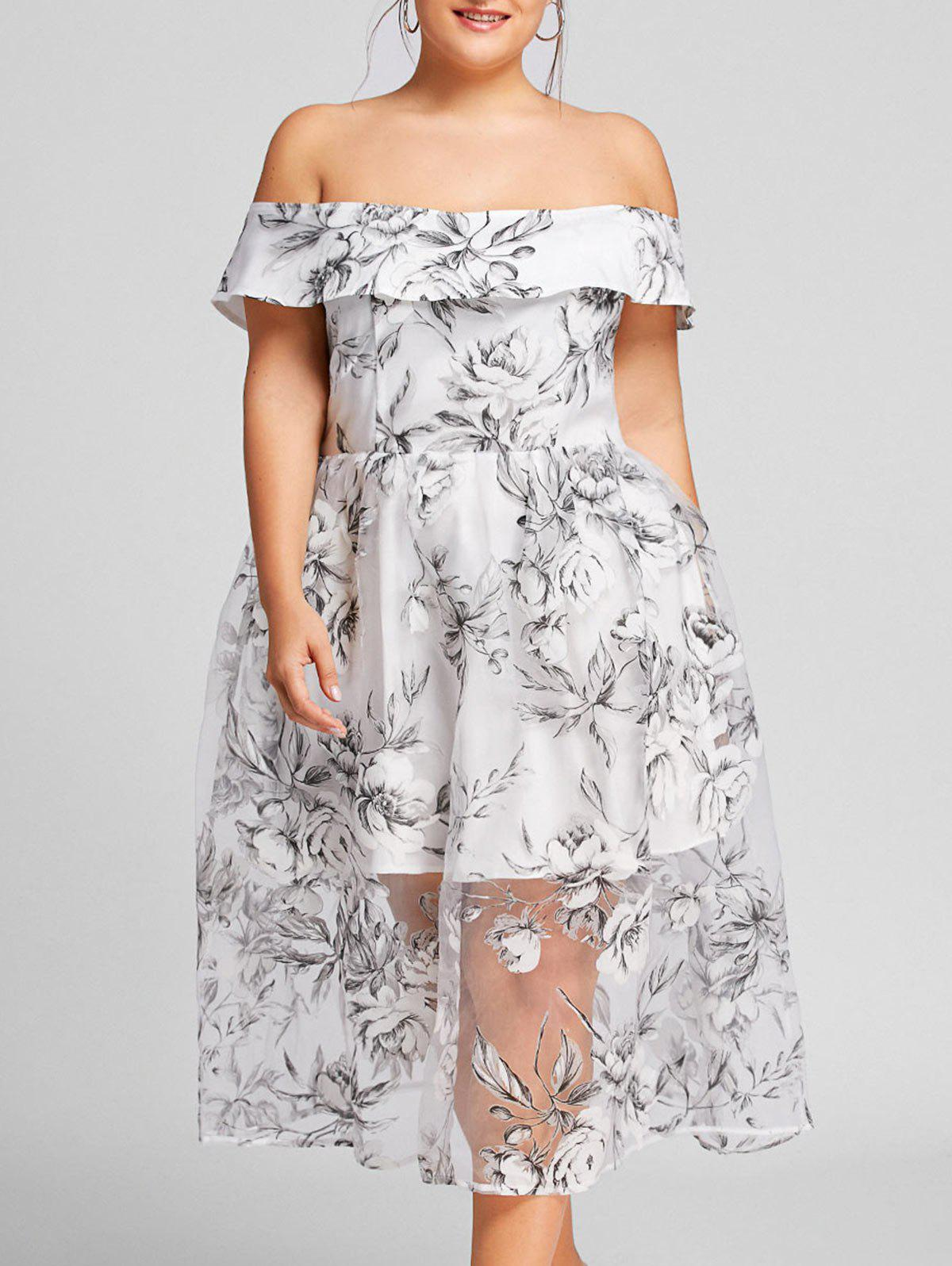 Floral Off The Shoulder Plus Size Tulle DressWOMEN<br><br>Size: 4XL; Color: GRAY; Style: Casual; Material: Polyester; Silhouette: A-Line; Dresses Length: Mid-Calf; Neckline: Off The Shoulder; Sleeve Length: Short Sleeves; Pattern Type: Floral; With Belt: No; Season: Fall,Spring,Summer,Winter; Weight: 0.2950kg; Package Contents: 1 x Dress;