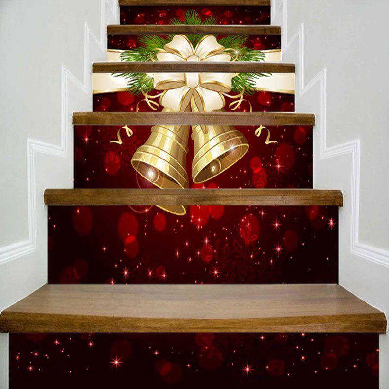 Christmas Bells Print DIY Decorative Stair StickersHOME<br><br>Size: 100*18CM*6PCS; Color: DARK RED; Wall Sticker Type: Plane Wall Stickers; Functions: Stair Stickers; Theme: Christmas; Pattern Type: Print; Material: PVC; Feature: Removable; Weight: 0.4000kg; Package Contents: 6 x Stair Stickers (Pcs);