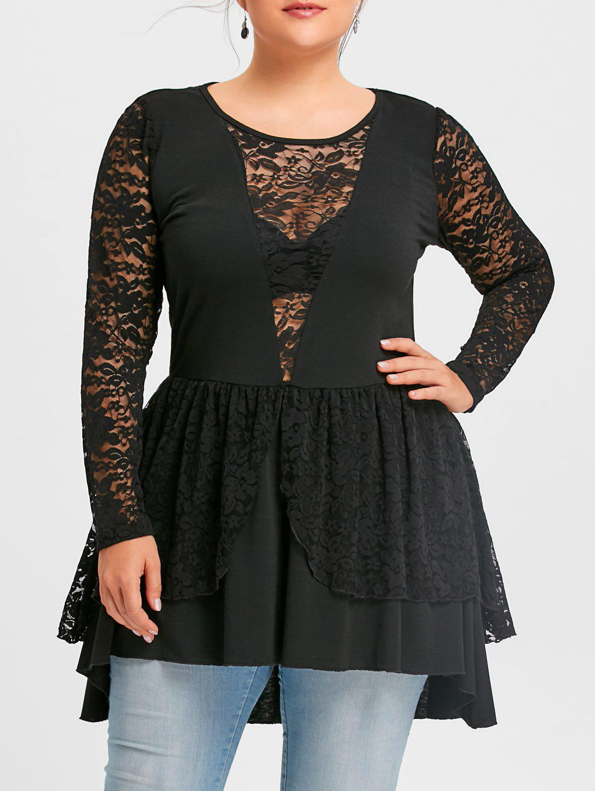 Plus Size Lace Trim Layered Peplum TopWOMEN<br><br>Size: 2XL; Color: BLACK; Material: Polyester,Spandex; Shirt Length: Long; Sleeve Length: Full; Collar: Round Neck; Style: Fashion; Season: Fall,Spring; Embellishment: Lace; Pattern Type: Floral; Weight: 0.3700kg; Package Contents: 1 x Top;