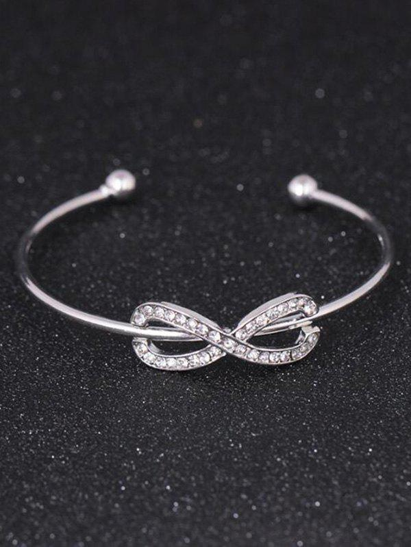 Alloy Rhinestone Infinite Cuff BraceletJEWELRY<br><br>Color: SILVER; Item Type: Cuff Bracelet; Gender: For Women; Chain Type: Cable-wire Chain; Material: Rhinestone; Style: Trendy; Shape/Pattern: Geometric; Length: 6CM (Diameter); Weight: 0.0300kg; Package Contents: 1 x Bracelet;