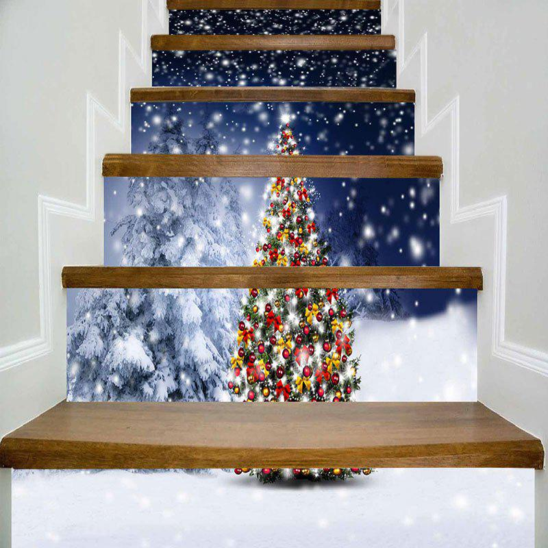 Snowscape Christmas Tree Printed DIY Decorative Stair StickersHOME<br><br>Size: 100*18CM*6PCS; Color: COLORMIX; Wall Sticker Type: 3D Wall Stickers; Functions: Stair Stickers; Theme: Christmas; Pattern Type: Christmas Tree; Material: PVC; Feature: Removable; Weight: 0.4000kg; Package Contents: 6 x Stair Stickers (Pcs);