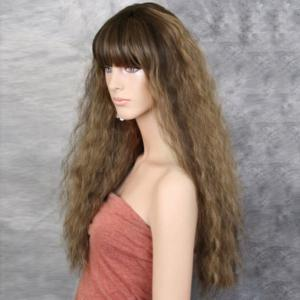 Long Full Bang Fluffy Colormix Wavy Synthetic Wig -