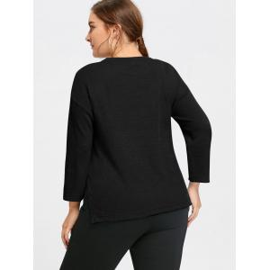 Plus Size Drop Shoulder Side Slit Sweater -