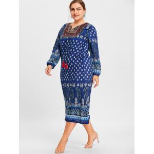 Paisley Print Tassel Keyhole Plus Size Dress -