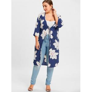 Plus Size Slit Floral Print Wrap Duster Coat -