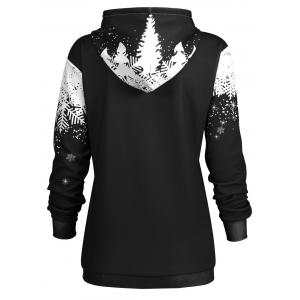 Plus Size Christmas Snowflake Tree Pocket Hoodie -