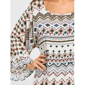 Long Sleeve Geometric Print Shift Dress -