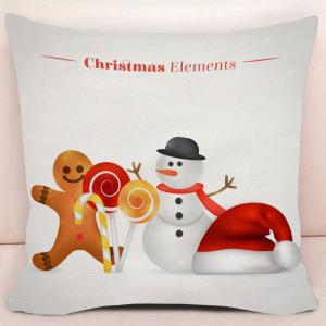Christmas Snowman and Candy Print Decorative Pillow Case -