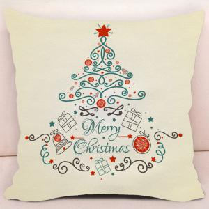 Christmas Elements Tree Printed Decorative Pillow Case -