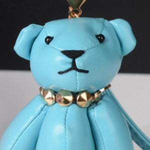 Faux Leather Cute Bear Keychain -