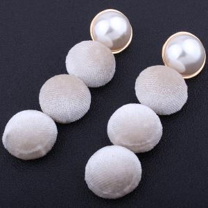 Faux Pearl Round Pompon Drop Earrings -