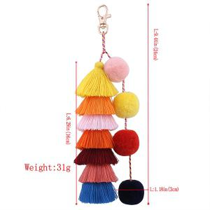 Layered Fuzzy Ball Tassel Keychain -