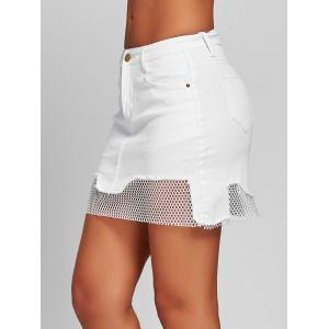 Fishnet Panel Mini A-line Skirt -