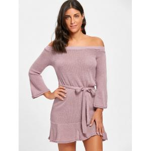 Off The Shoulder Knitted Short Dress -