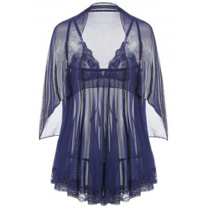 Mesh Sheer Slip Babydoll with Shawl -