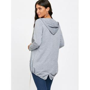 Drawstring Hooded Open Front Jacket -