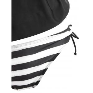 Striped Panel Double Straps Blouson Tankini Set -
