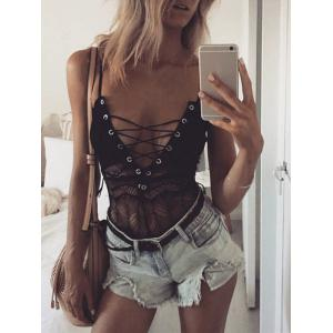 Sheer Lace Spaghetti Strap Tie Up Bodysuit -