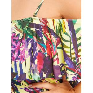 Floral Leaf Ruffle Plus Size Swimwear -