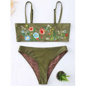 Floral Embroidered Cami Tube Bikini Suit -