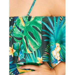 Tropical Leaf Floral Ruffle Plus Size Swimwear -