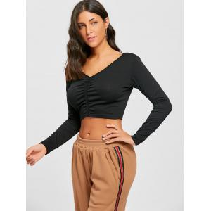 V Neck Long Sleeve Ruched Crop Top -