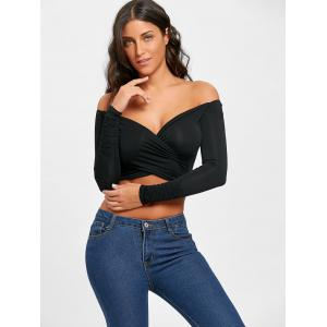 Surplice Neck Long Sleeve Crop Top -