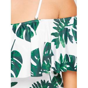 Tropical Leaf Flounce Plus Size One Piece Swimwear -