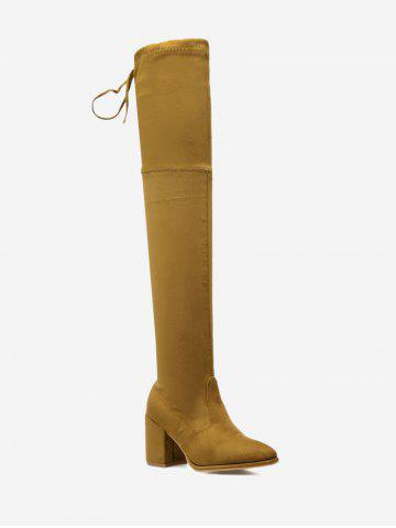 Pointed Toe Block Heel Thigh High Boots