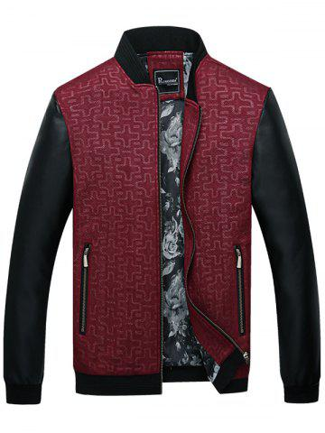 Stand Collar Geometric Print PU Leather Panel Jacket
