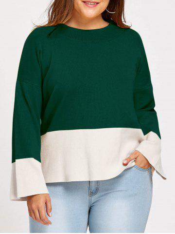 Unique Color Block Plus Size Mock Neck Sweater