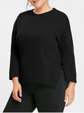 Trendy Plus Size Drop Shoulder Side Slit Sweater