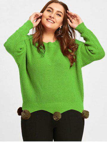 Online Plus Size Chunky Knitted Tunic Sweater with Pompous