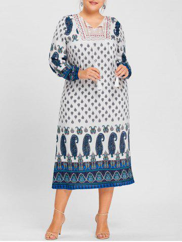 Shop Paisley Print Tassel Keyhole Plus Size Dress